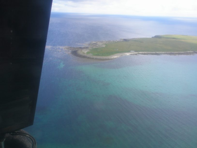 Flying high over the Orkney Islands in Scotland
