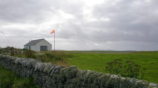 Papa Westray Airport in the Orkney Islands, Scotland