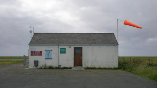 Papa Westray Airport on a cloudy day