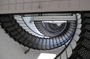 Looking up the staircase of the St Augustine Lighthouse in Florida