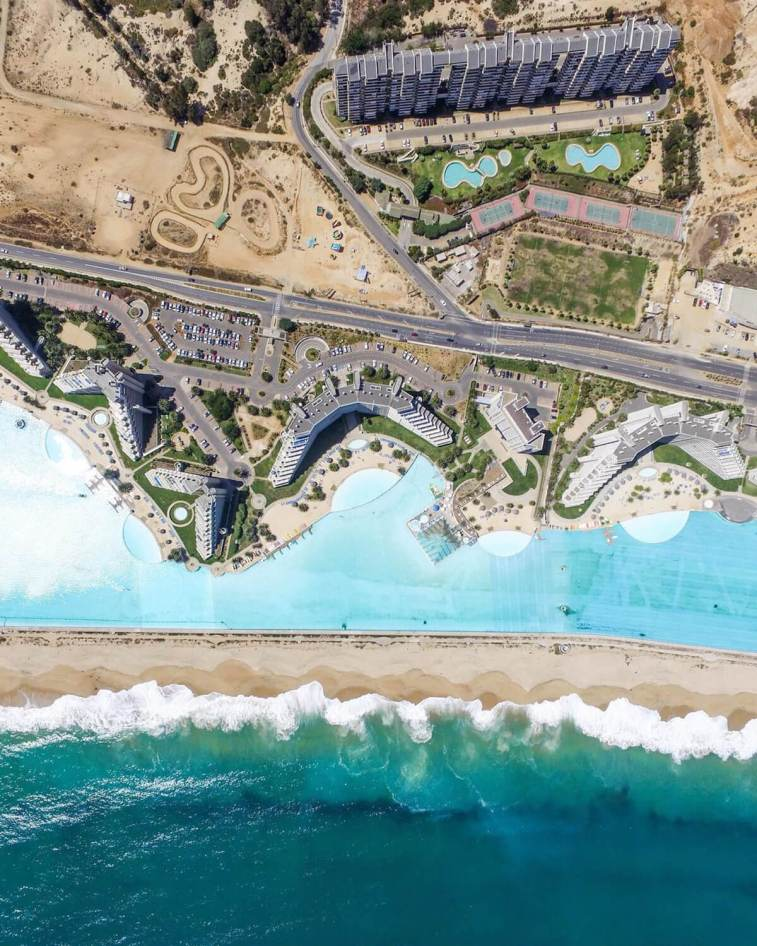 Drone view of the world's largest pool in Chile
