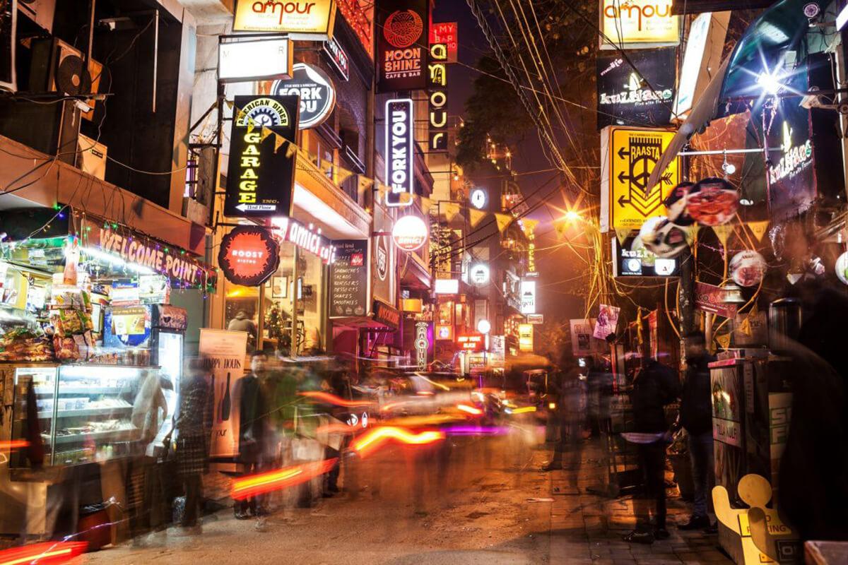 Hauz Khas Village after dark