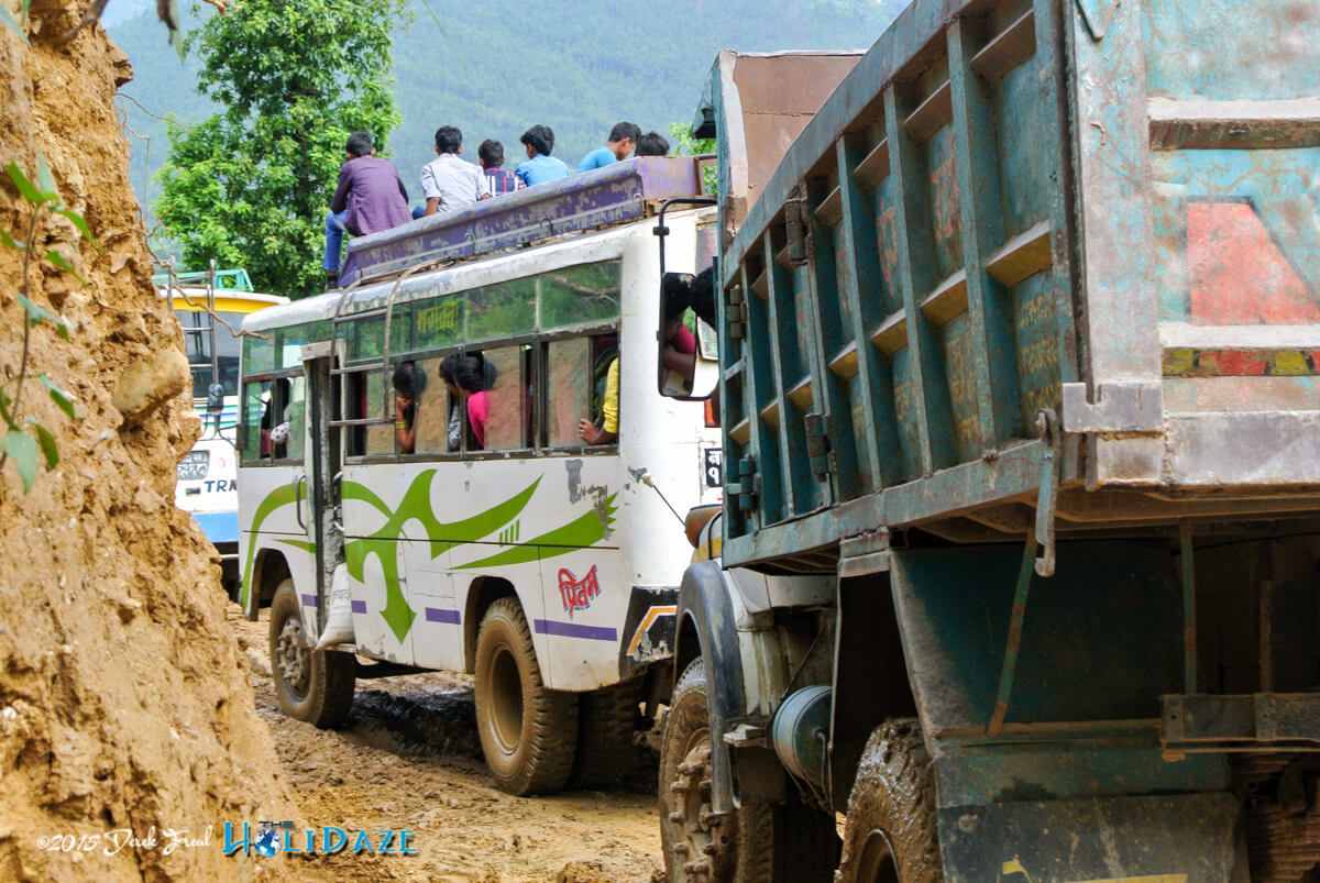 Stuck on the road in Nepal after rain caused a landslide on the only road to the next town