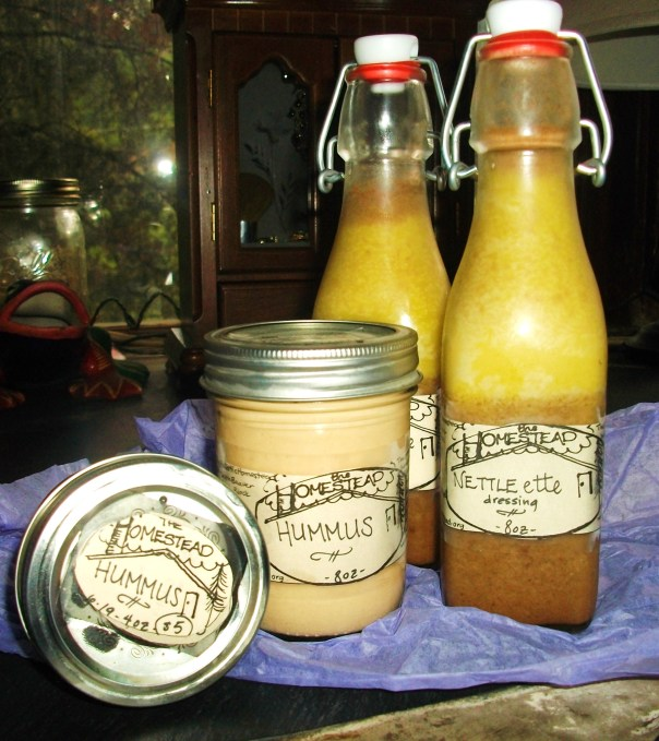 Nettle-ette dressing next to my famous Homestead Hummus