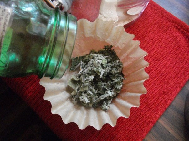 Spoon 2 T blended herbs into a coffee filter