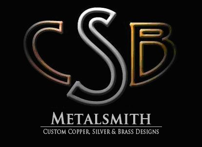 "CSB metalsmith logo, ""custom copper, silver and brass designs"""