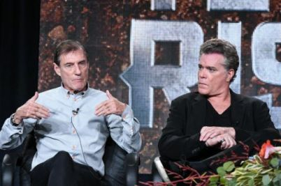 Roland Joffe, left, and Ray Liotta speak on stage A+E Networks 2015 Winter TCA on Friday, Jan. 9, 2015, in Pasadena, Calif. (Photo by Richard Shotwell/Invision/AP)