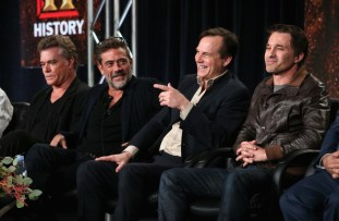 Actors Ray Liotta, Jeffrey Dean Morgan, Bill Paxton, and Olivier Martinez speak onstage during the 'Texas Rising' panel at the A&E Networks portion of the 2015 Winter Television Critics Association press tour at the Langham Hotel on January 9, 2015 in Pasadena, California.