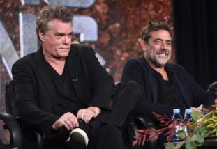 """IMAGE DISTRIBUTED FOR A&E - Ray Liotta, left, and Jeffrey Dean Morgan, of History's """"Texas Rising"""", speak on stage at the Lifetime, A&E, and History winter TCA panel at the Langham Hotel on Friday, Jan. 9, 2015, in Pasadena, Calif. (Photo by John Shearer/Invision for A&E Networks]/AP Images)"""