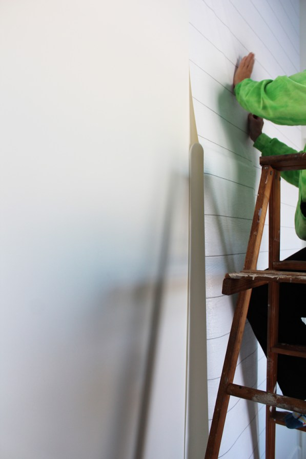 How to Apply Shiplap Wallpaper - The Holtz House