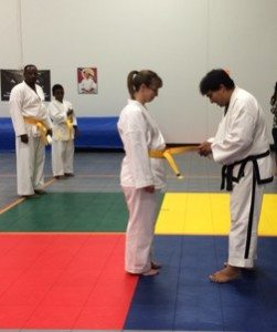 Sara Gold Belt Green Stripe