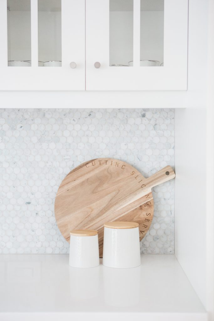 marble counters with wood board