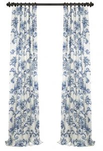 blue and white curtain panels the