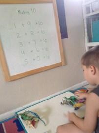 Dinosaur manipulatives to show addition to ten