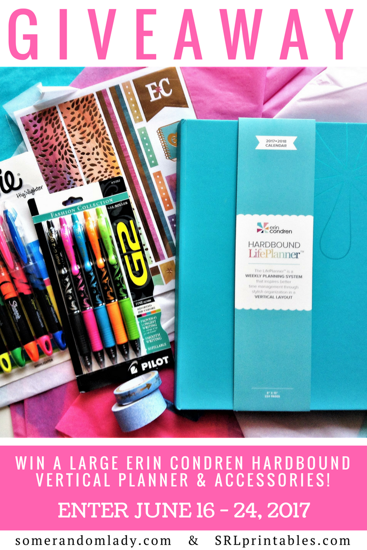 June Giveaway, Erin Condren Hardbound Planner and Accessories