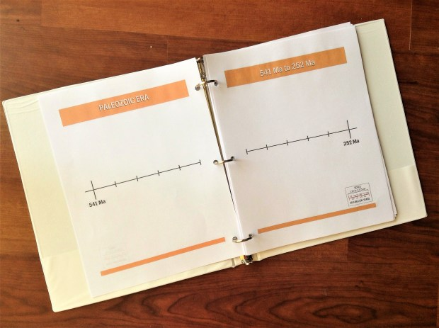 Printable geologic timeline for binder or accordion timeline