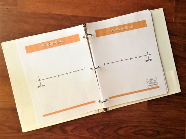 Printable geologic timeline for binder or accordion timeline