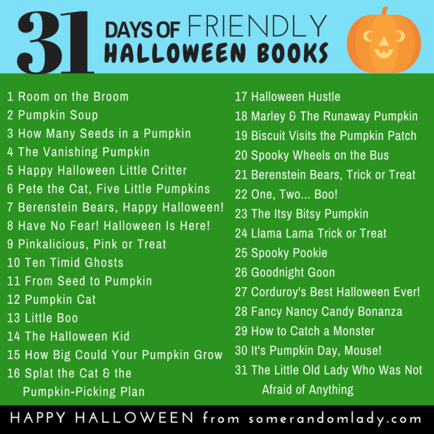 31 Days of Friendly Halloween Books for little kids. Check out the post for more friendly activities, movies, crafts, games, and more!