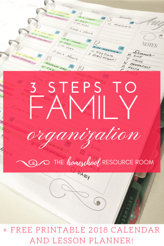 Family organization with a free printable calendar.