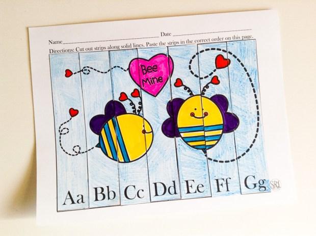 Valentine's Day Free Printable Preschool ABC Puzzle!