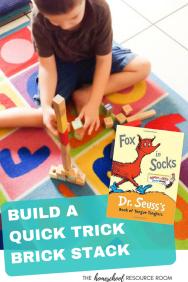 Fox in Socks Activities - Quick Trick Brick Stack