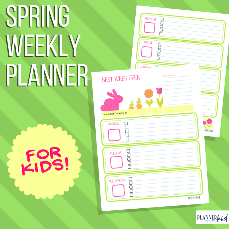 Spring Weekly Planner for Kids