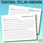 Traditional Spelling Homework