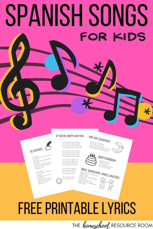 Easy Spanish Songs to Sing - with videos, lyrics, and a free printable for your Spanish lesson plans.