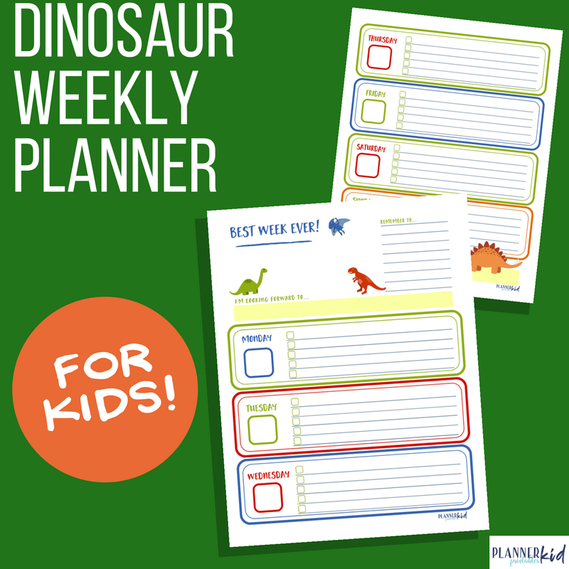 Dinosaur Weekly Planner for Kids