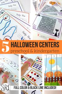 Halloween centers for kindergarten and preschool. Hands on halloween themed activities including Halloween mazes, Halloween letter cards, Halloween counting activities and more!