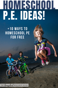 How to homeschool pe in your own home or at parks and playgrounds in your area. Plus 10 FREE homeschool PE ideas to get you started!