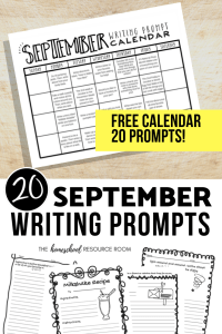 20 September writing prompts and a FREE printable writing prompt calendar for September! Fun and engaging writing prompts for elementary aged kiddos.