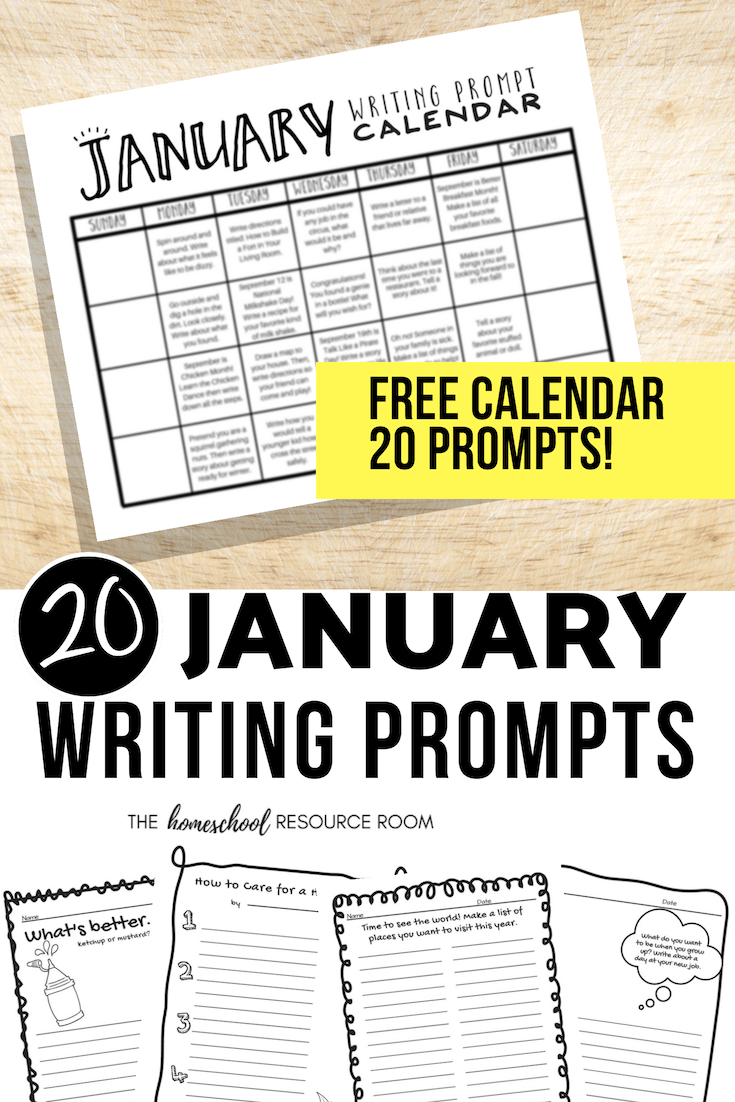 January Writing Prompts: FREE January Writing Prompt Calendar!