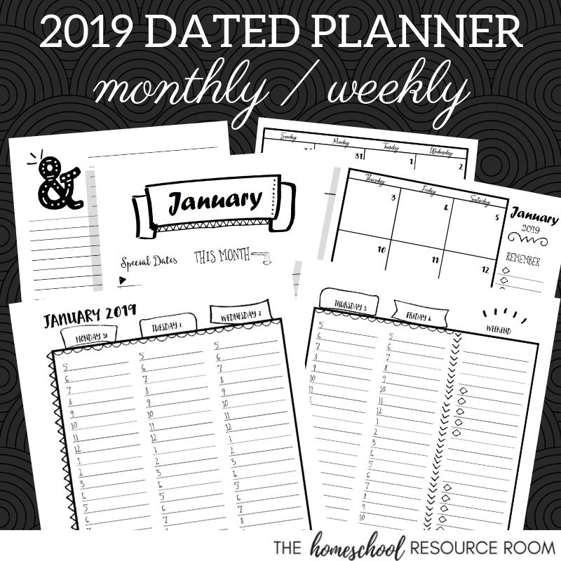 2019 Printable Hourly Planner The Homeschool Resource Room