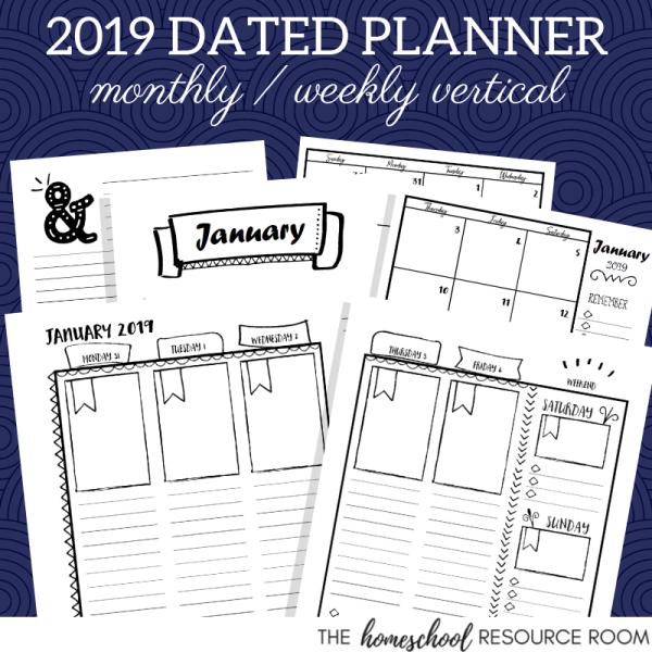 2019 Vertical Planner Printable