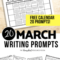 March Writing Prompts: FREE March Writing Prompt Calendar!