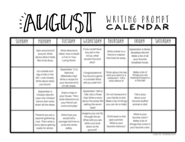 August writing prompt calendar