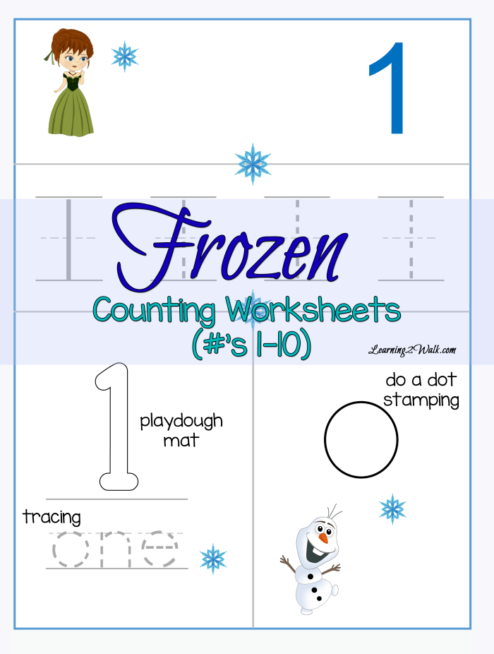 Counting Frozen Worksheets The Homeschool Village