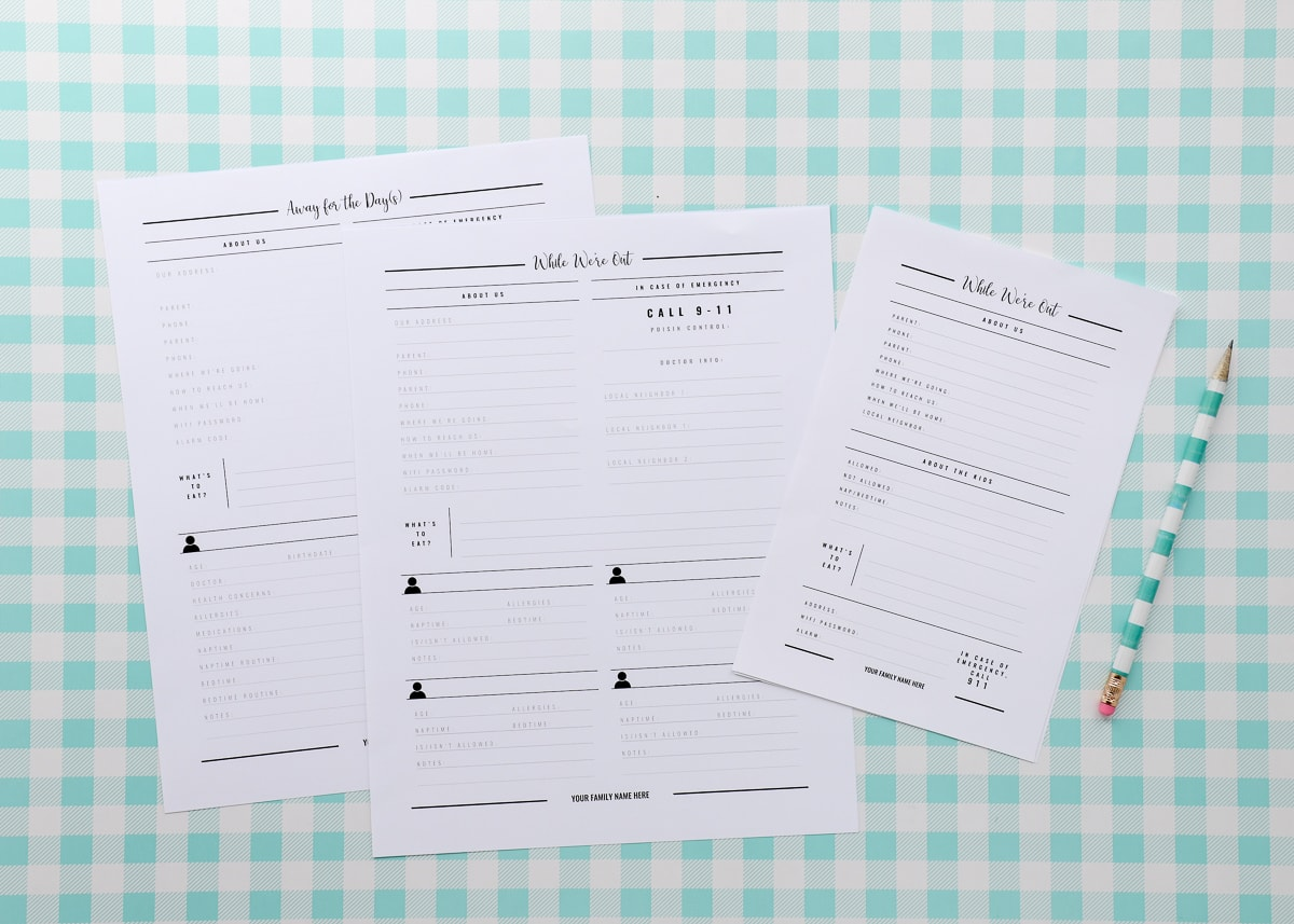 New To The Organization Toolbox Printable Babysitter