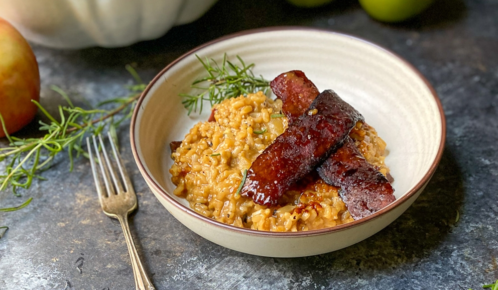 grass fed bison bacon strips over risotto