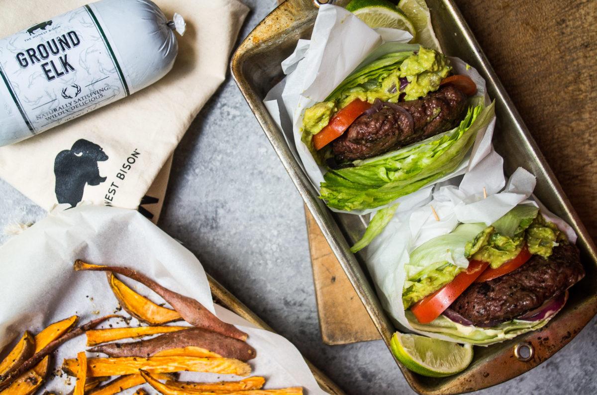 elk burger with guacamole