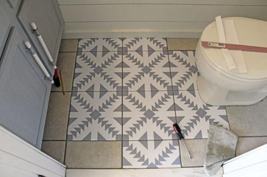 floor stickers in the bathroom the