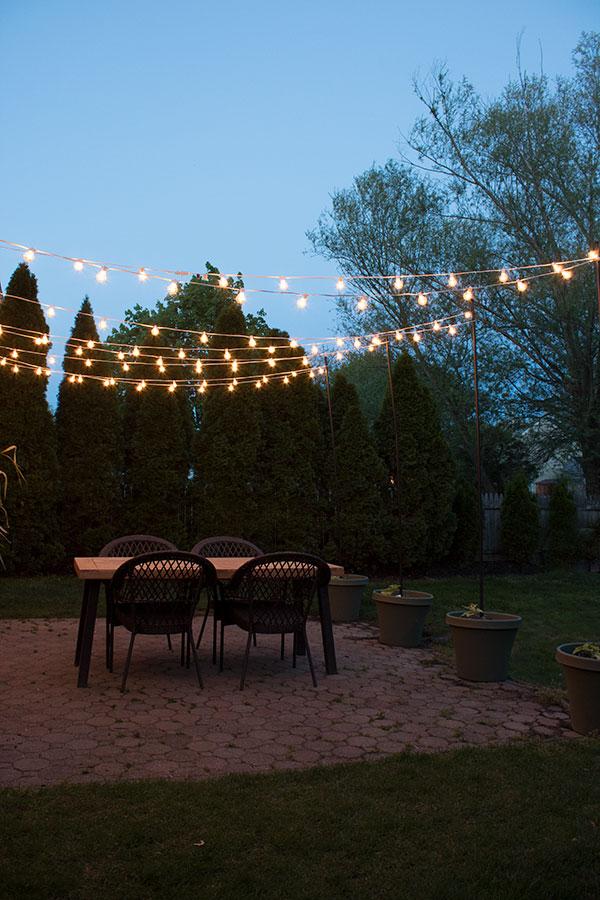 diy patio arbor using string lights