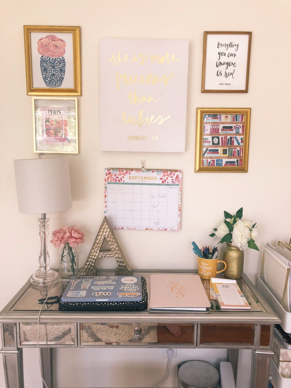 Everything You Need In Your Own College Room at the Honey Scoop - college desk organization, college desk ideas, college desk, college desk decor, college desk organization diy, gallery wall