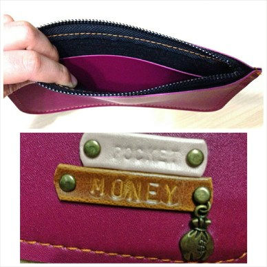 Top pic: Insides of wristlet with suede lining for added protection. Bottom pic: Intricate customization for text and charms.