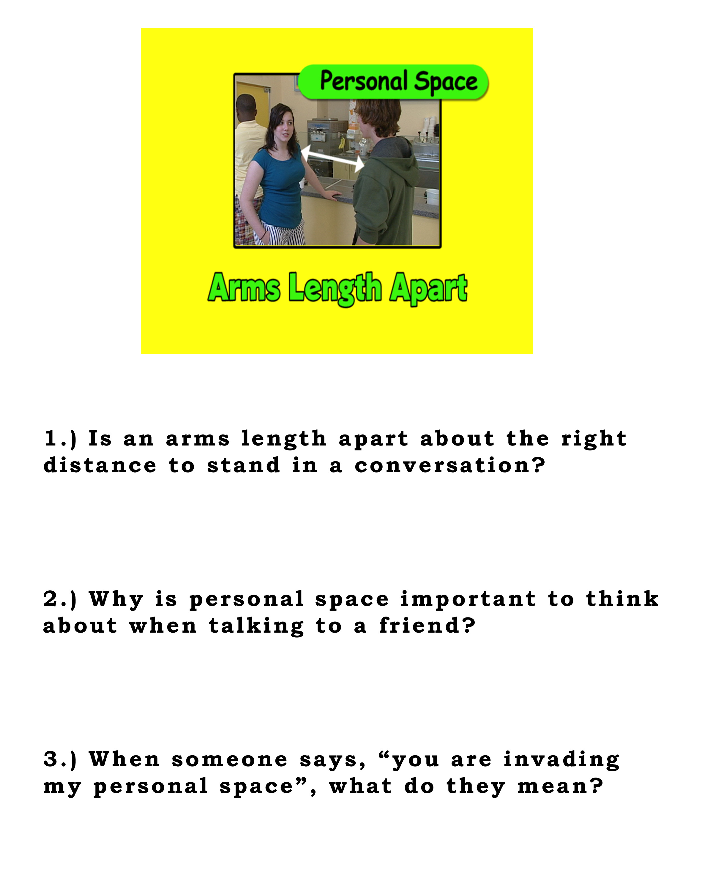 This Week S Lesson Personal Space