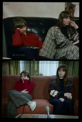 interview with Janet and Margaret Hodgson in the 70s (top) and in the movie (bottom)