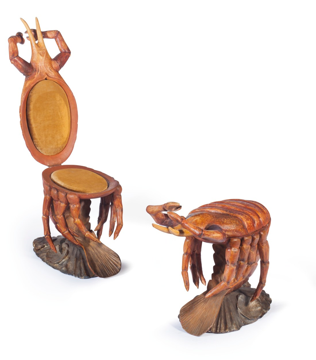 A pair of late 19th century Venetian lobster-form hinged chairs attributed to the manufacturer Pauly Et Cie.