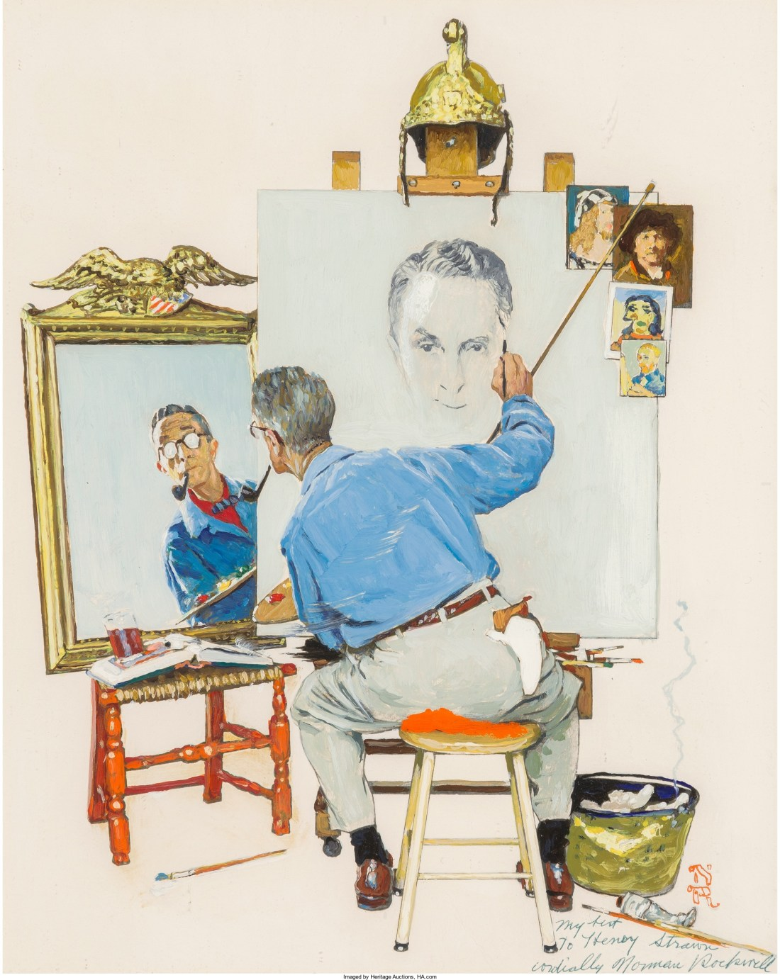 Study for Triple Self Portrait, a 1960 oil on photographic paper laid on panel by Norman Rockwell. The final version graced the cover of the February 13, 1960 edition of The Saturday Evening Post.