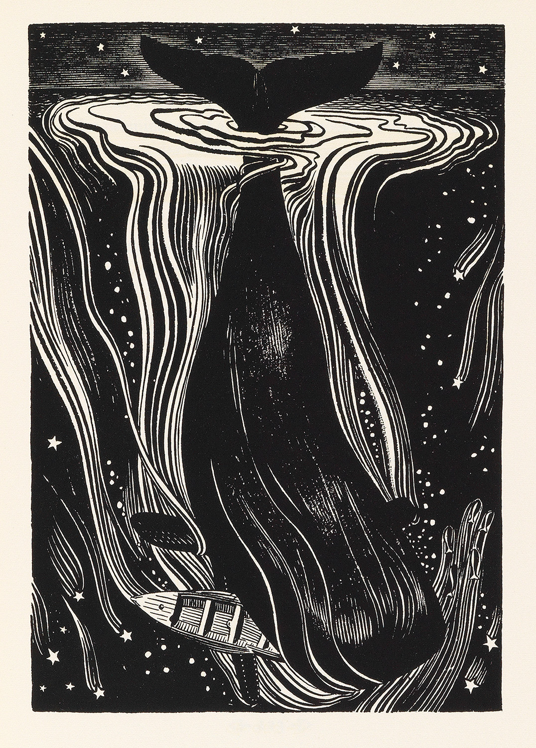 One of the 280 pen-and-ink illustrations that Rockwell Kent did for a three-volume 1930 limited edition release of Moby Dick. This particular copy lacks its aluminum slipcase.
